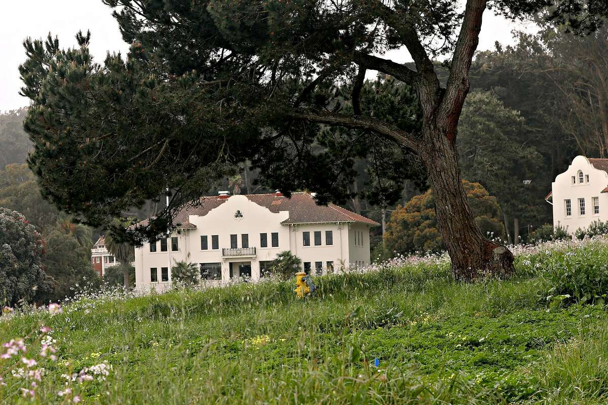 Historic barracks and parade ground seen at Fort Winfield Scott in the presidio on Thursday, April 25, 2019, in San Francisco, Calif.