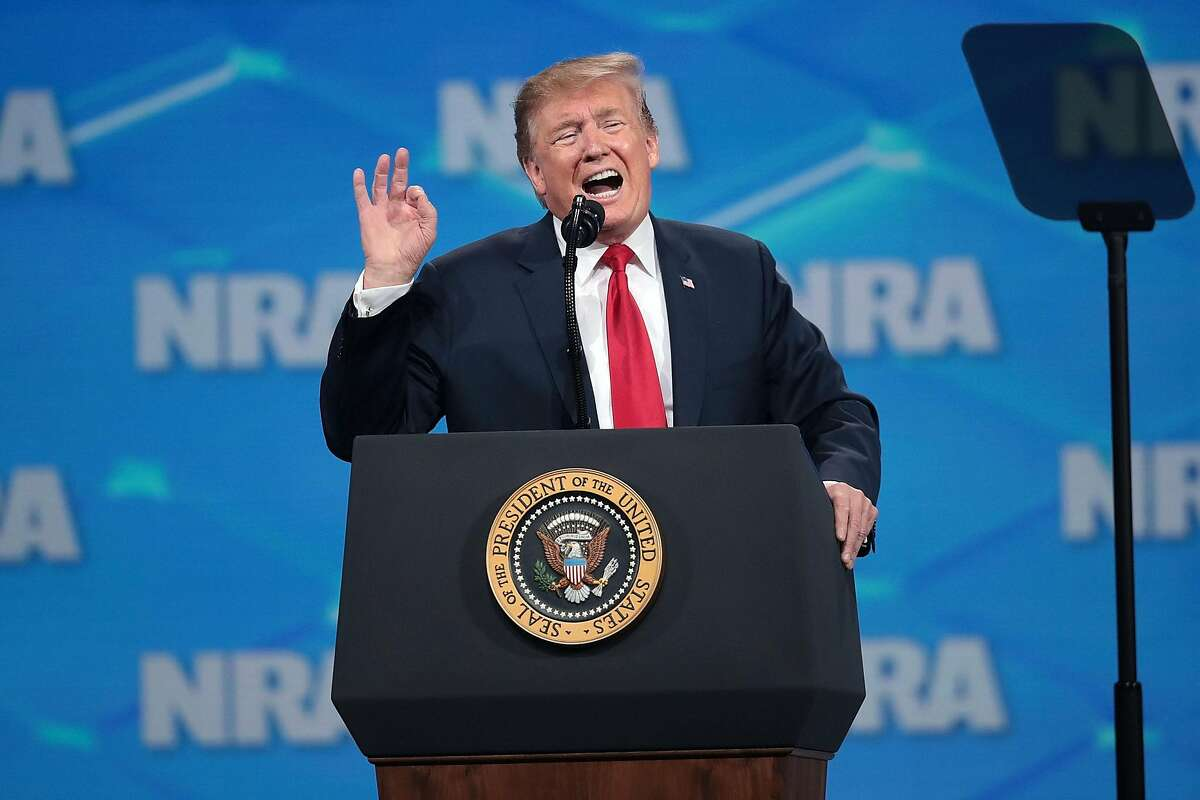 INDIANAPOLIS, INDIANA - APRIL 26: US President Donald Trump speaks to guests at the NRA-ILA Leadership Forum at the 148th NRA Annual Meetings & Exhibits on April 26, 2019 in Indianapolis, Indiana. The convention, which runs through Sunday, features more than 800 exhibitors and is expected to draw 80,000 guests. (Photo by Scott Olson/Getty Images)