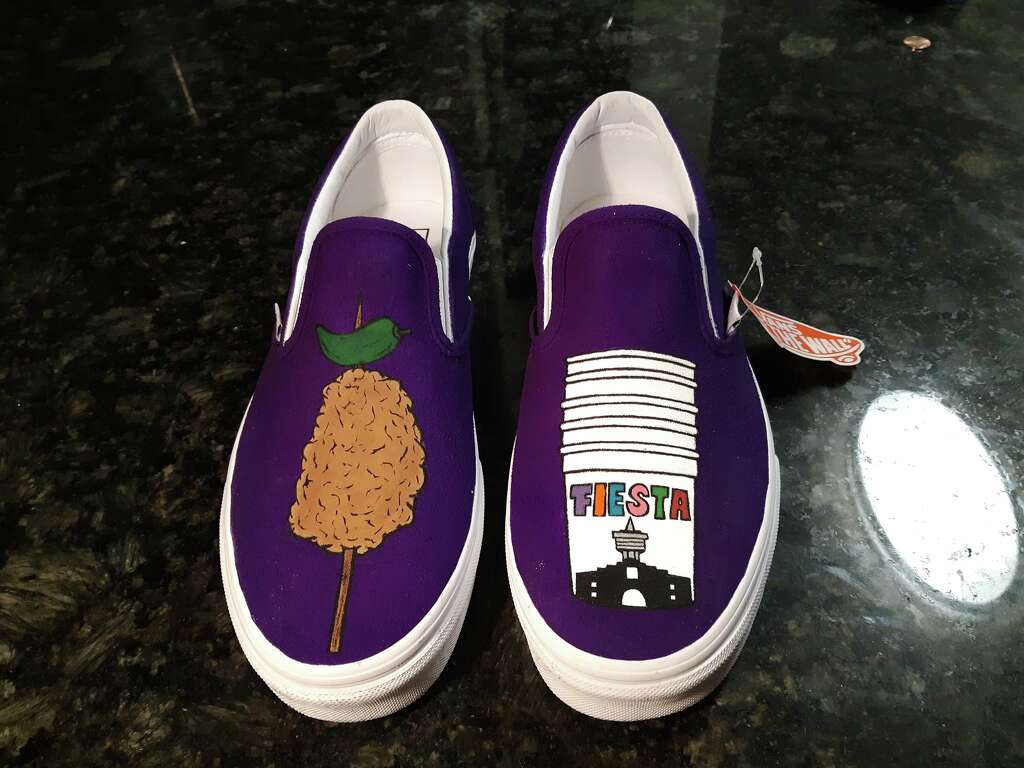 <p>Juan Garcia, of J3 Customs, created art on a pair of Vans slip-on shoes featuring the two favorites. The shoes were made for returning customer Jorge Bernal, who also commissioned Garcia to create the popular</p>