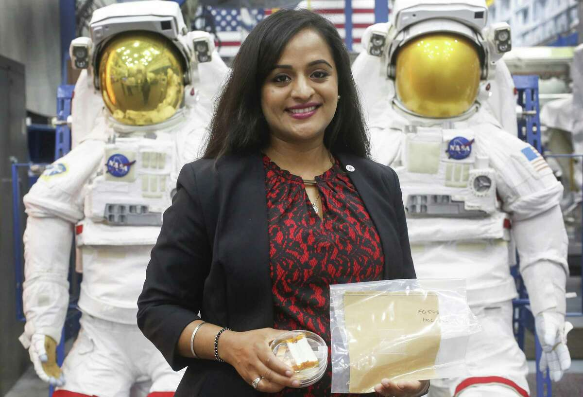 Boeing engineer, Kavya Manyapu, developed a spacesuit material that is being tested aboard the International Space Station Friday, April 26, 2019, in Houston.