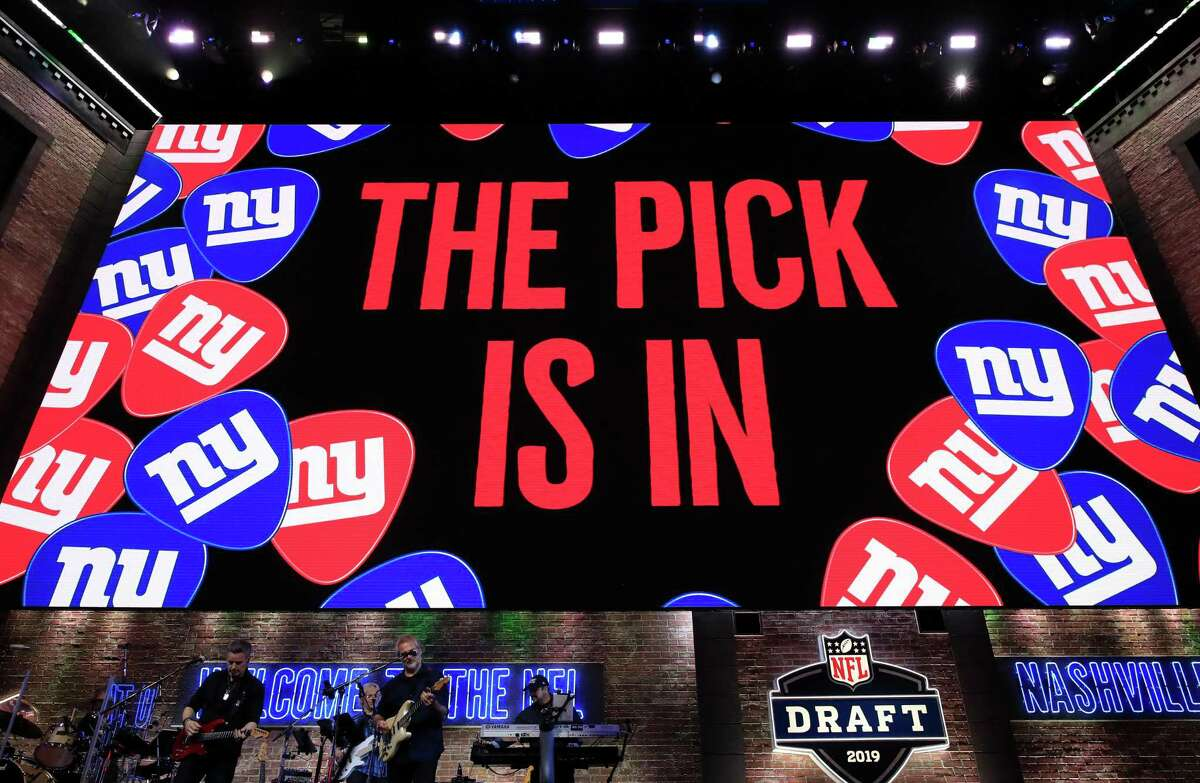 A general view of a video board as the New York Giants pick is announced during the first round of the NFL draft on Thursday in Nashville, Tenn.