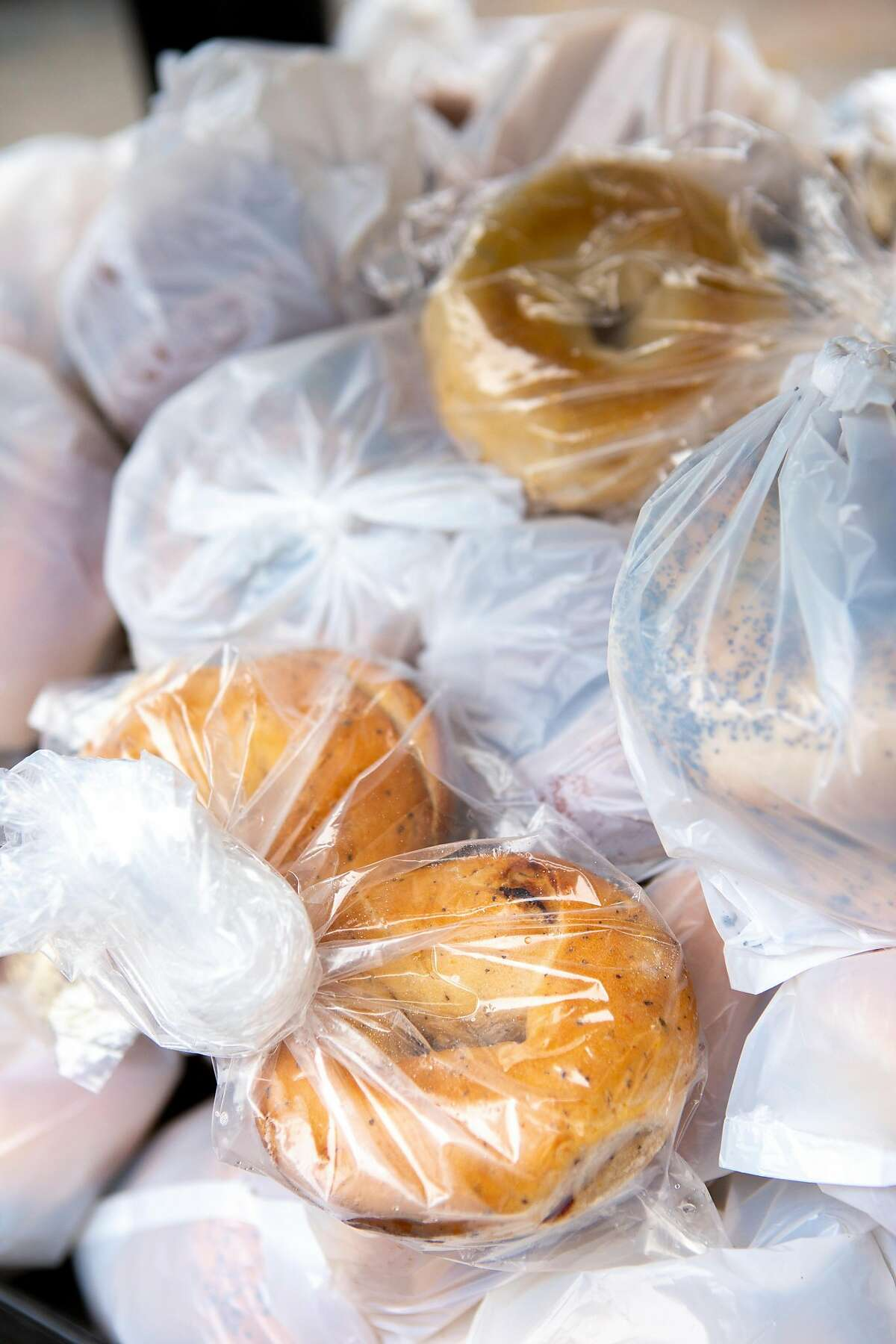 Bagels offered in the SF-Marin Food Bank at the Richmond Neighborhood Center food pantry on Thursday, April 25, 2019, in San Francisco, Calif.