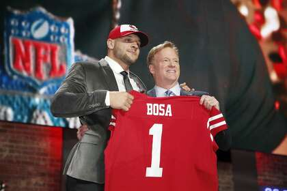 ac7461737 Defensive end Nick Bosa celebrates his move to the 49ers with NFL  Commissioner Roger Goodell last week. Bosa has deleted tweets blasting  Colin Kaepernick.