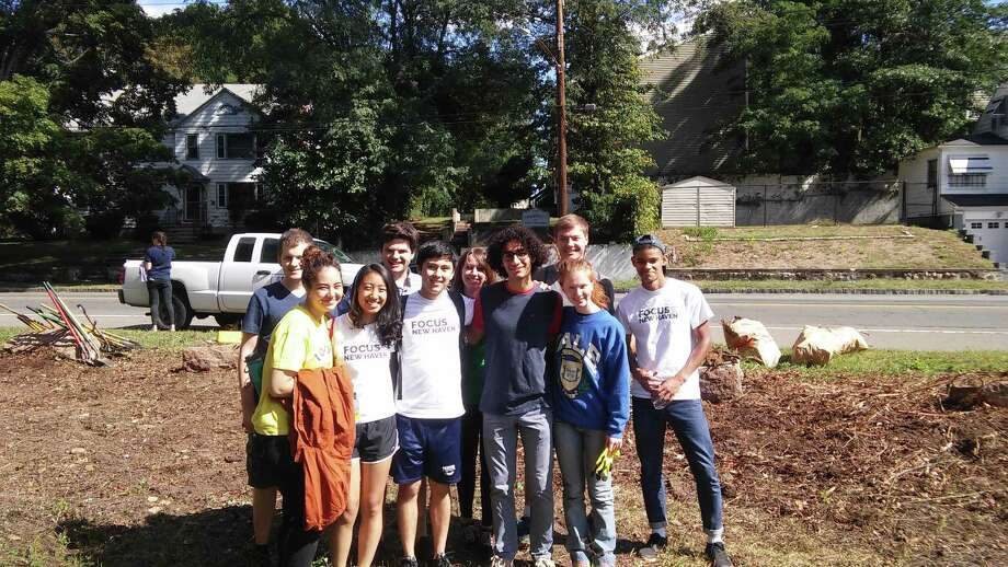Yale Focus volunteers after an event in 2017. The students are members of Dwight Hall, Yale's service and social justice agency. Photo: Adam Rawlings / Contributed Photo