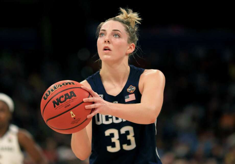 TAMPA, FLORIDA - APRIL 05: Katie Lou Samuelson #33 of the UConn Huskies attempts a free throw against the Notre Dame Fighting Irish during the third quarter in the semifinals of the 2019 NCAA Women's Final Four at Amalie Arena on April 05, 2019 in Tampa, Florida. (Photo by Mike Ehrmann/Getty Images) Photo: Mike Ehrmann / Getty Images / 2019 Getty Images