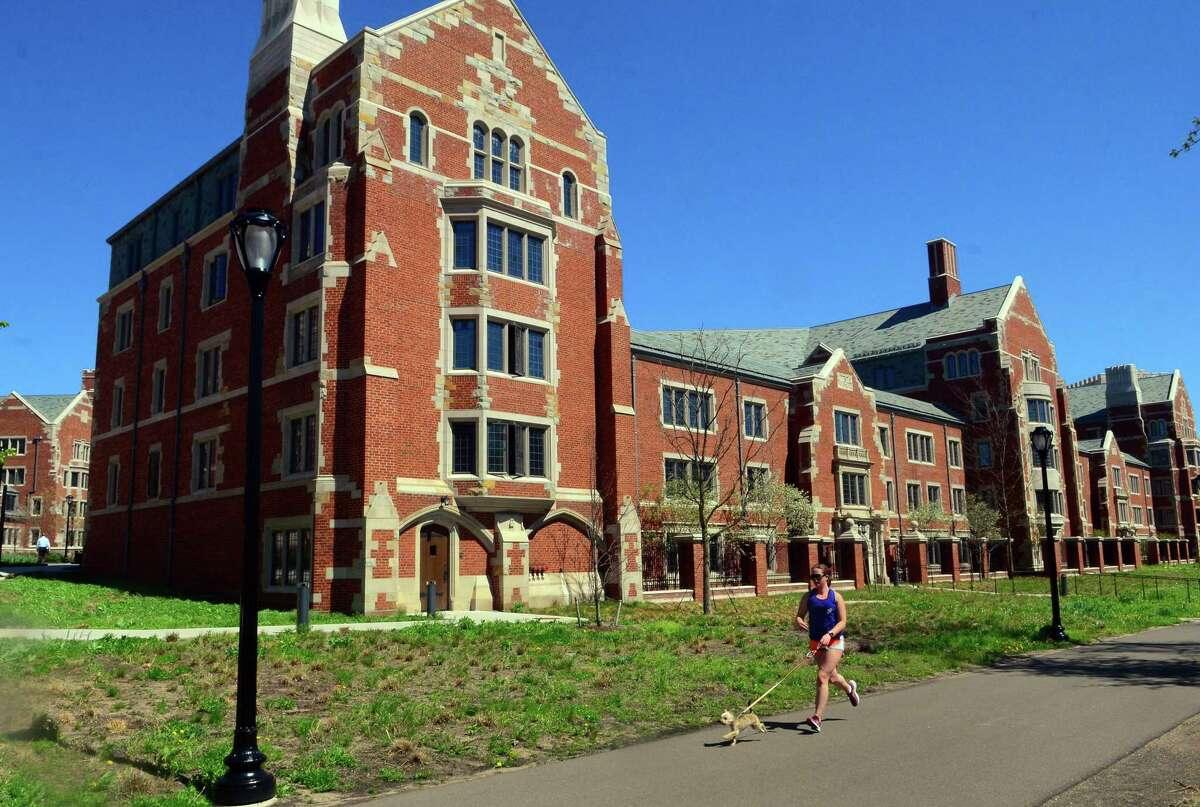 """Architecture at Yale University's new college residences at the school in New Haven, Conn., on Wednesday April 24, 2019. Mathew Duman, who has written """"The Grotesque 10: Amazing Architectural Sculpture from Ten American Colleges and Universities,"""" was on hand to points out examples of some of those sculpted objects in the new buildings."""