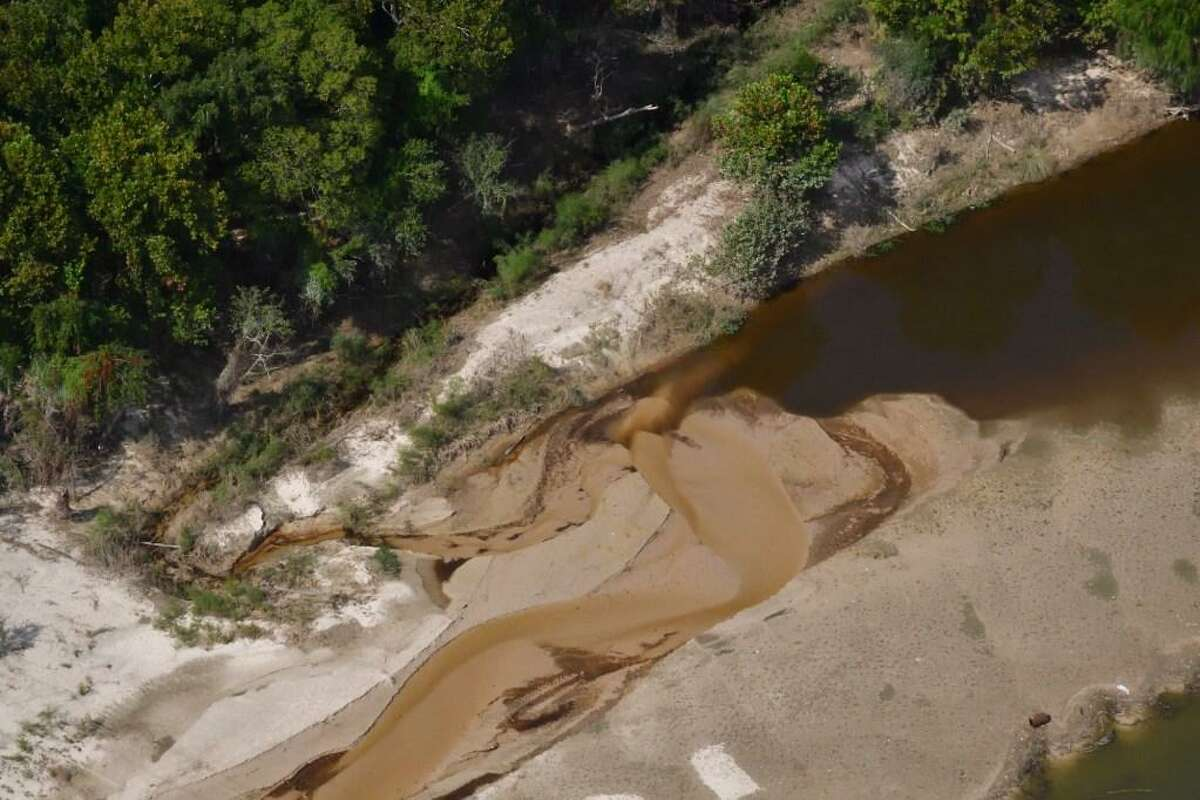 Sand deposits collected in the West Fork of the San Jacinto River near Kingwood after Hurricane Harvey.