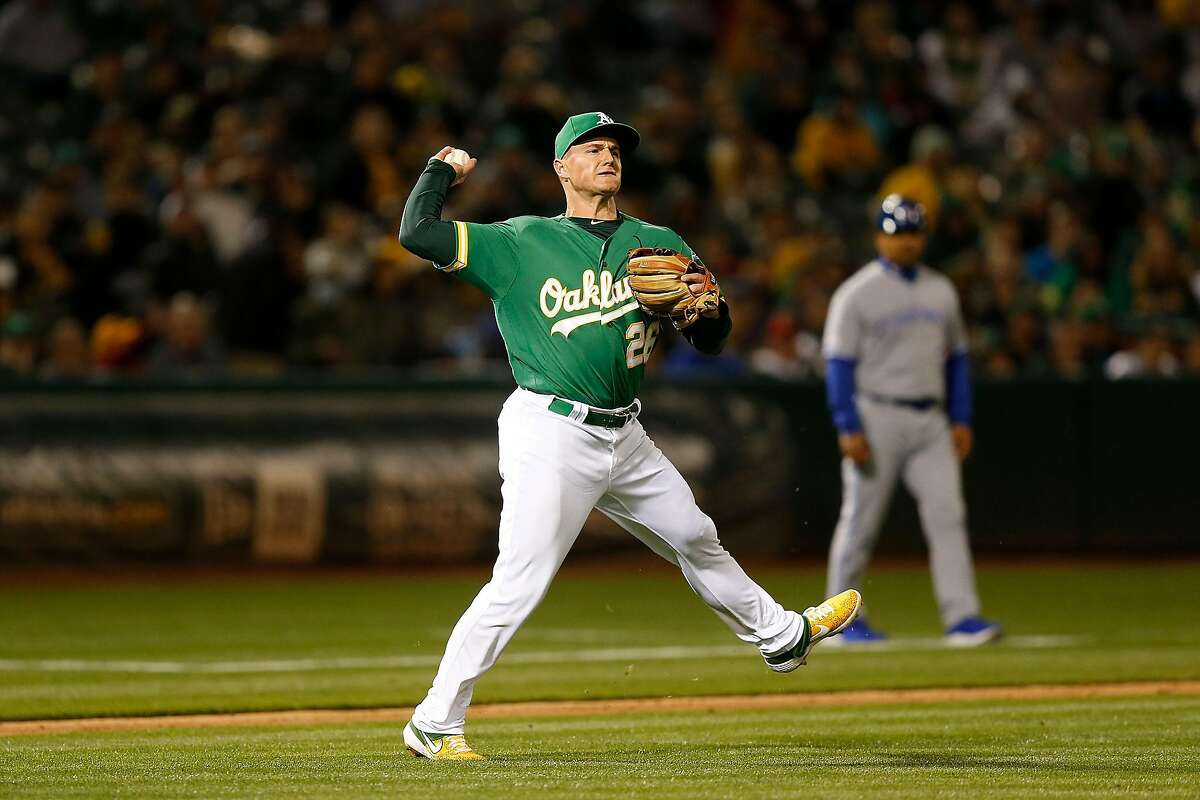 OAKLAND, CA - APRIL 19: Matt Chapman #26 of the Oakland Athletics fields a bunt by Eric Sogard #5 of the Toronto Blue Jays and throws to first base to get the out in the top of the seventh inning at Oakland-Alameda County Coliseum on April 19, 2019 in Oakland, California. (Photo by Lachlan Cunningham/Getty Images)