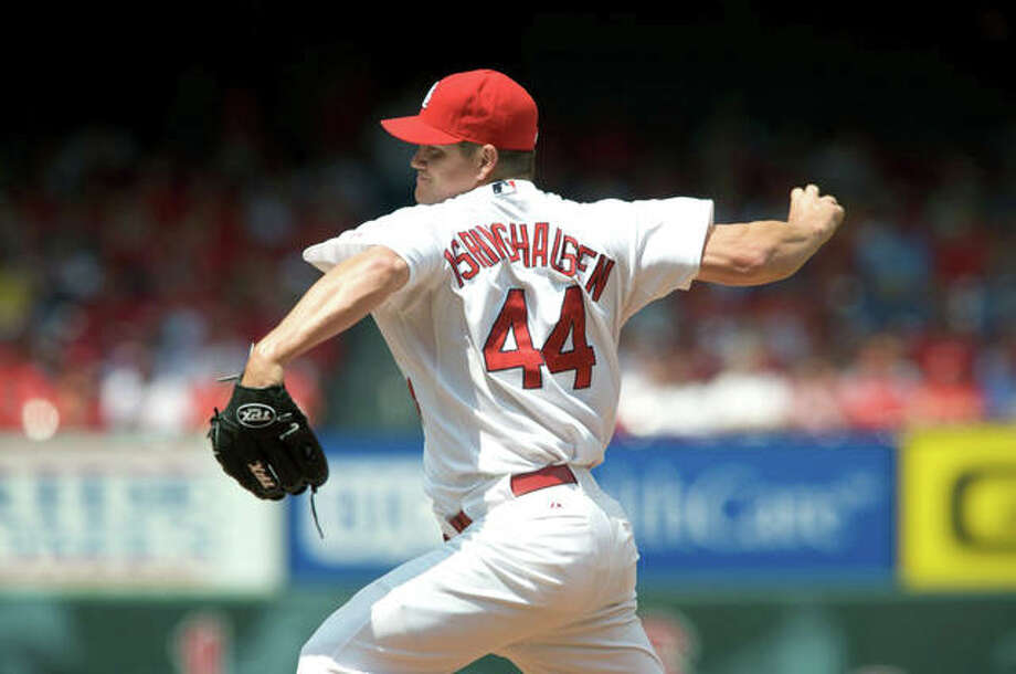 Former Cardinals pitcher Jason Isringhausen, a native of Brighton, as well as a former standout at Southwestern High School and Lewis and Clark Community College, has been elected by fans to the Cardinals Hall of Fame. He is shown pitching in 2008. Photo: AP Photo