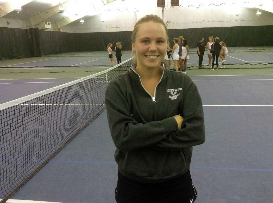 Greenwich Academy senior Georgia Ryan won her match at first singles against Sacred Heart Greenwich on Friday at Sound Shore Indoor Tennis Center in Port Chester, N.Y. Photo: David Fierro / Hearst Connecticut Media / Connecticut Post