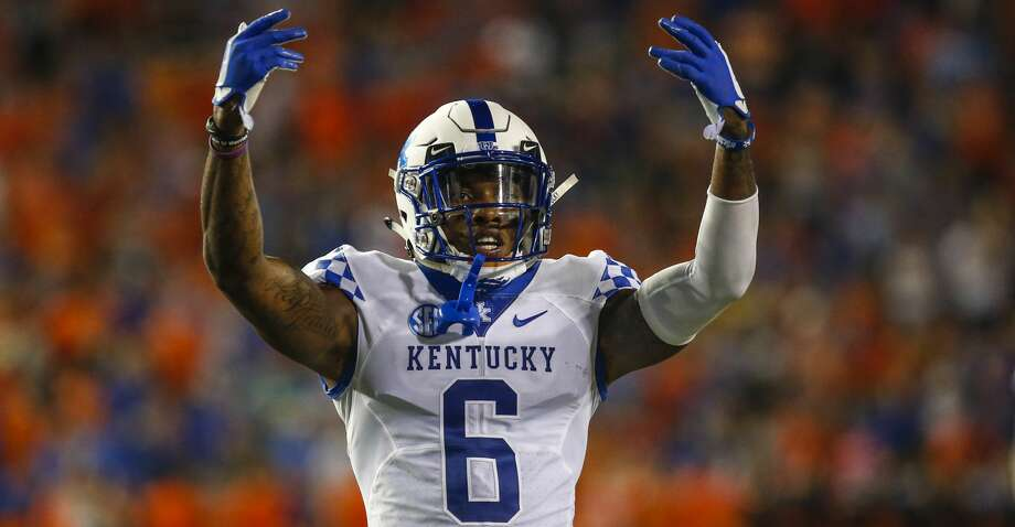 PHOTOS: Introducing Tytus Howard Kentucky Wildcats cornerback Lonnie Johnson Jr. (6) celebrates during the game between the Kentucky Wildcats and the Florida Gators on September 8, 2018, at Ben Hill Griffin Stadium at Florida Field in Gainesville, Fl.  (Photo by David Rosenblum/Icon Sportswire via Getty Images) The Texans introduced first-round pick Tytus Howard on Friday. Photo: Icon Sportswire/Icon Sportswire Via Getty Images