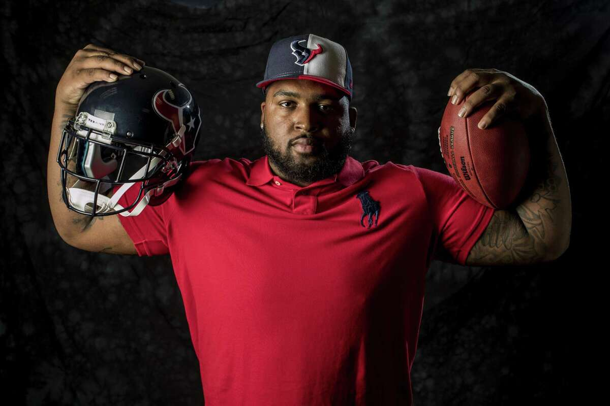 Houston Texans top draft pick Tytus Howard poses for a portrait following an introductory news conference at NRG Stadium on Friday, April 26, 2019, in Houston. Howard, an offensive lineman from Alabama State was the 23rd overall selection in the 2019 NFL Draft.