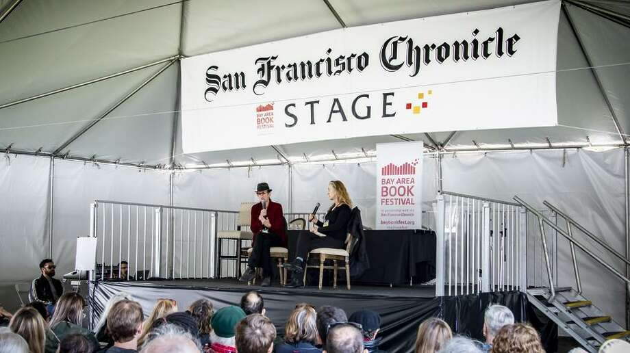 The San Francisco Chronicle Stage in the Park offers free events all day. Pictured are Rebecca Solnit and L.A. Kauffman from 2018. Photo: Sunny Saperstein / Leon Saperstein of Studio-FAB