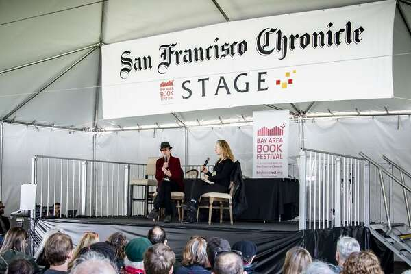 The San Francisco Chronicle Stage in the Park offers free events all day. Pictured are Rebecca Solnit and L.A. Kauffman from 2018.