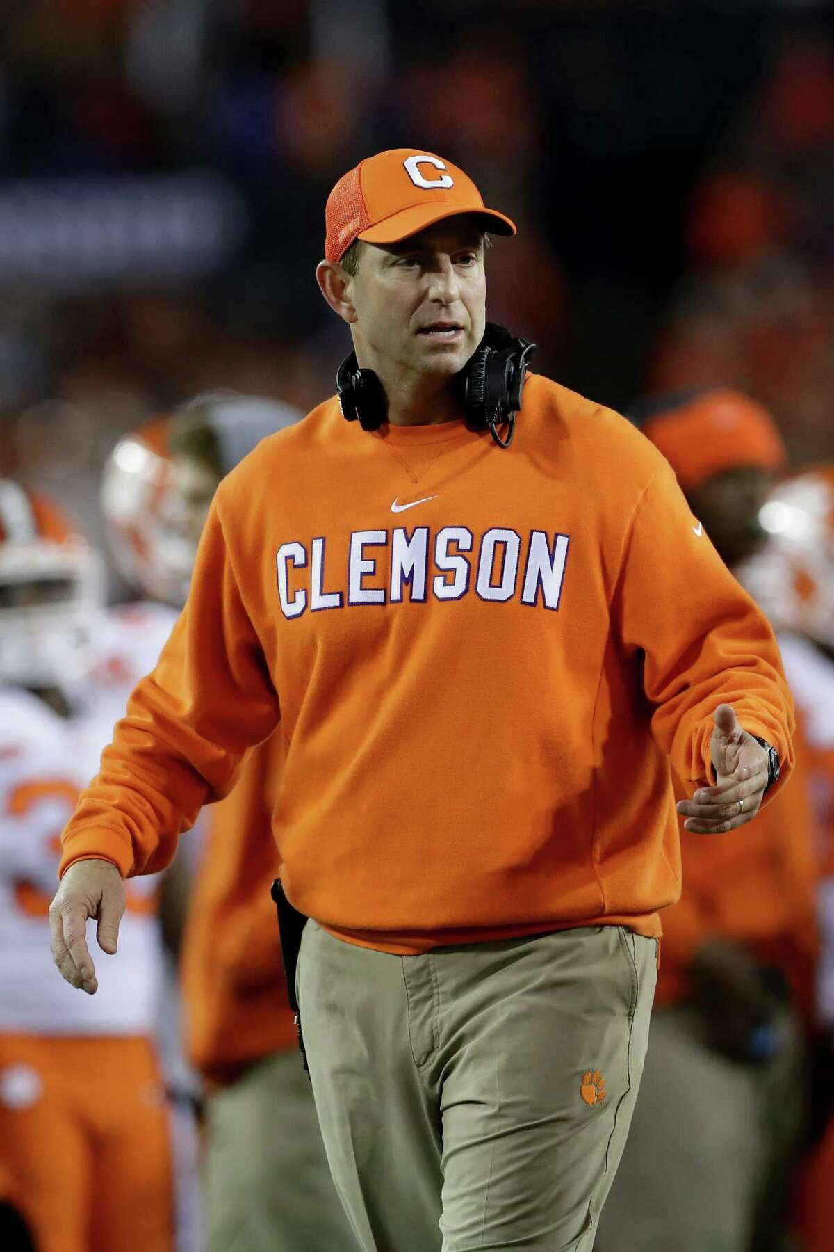 TAMPA, FL - JANUARY 09: Head coach Dabo Swinney of the Clemson Tigers reacts during the second half of the 2017 College Football Playoff National Championship Game against the Alabama Crimson Tide at Raymond James Stadium on January 9, 2017 in Tampa, Florida. (Photo by Ronald Martinez/Getty Images) ORG XMIT: 686857421