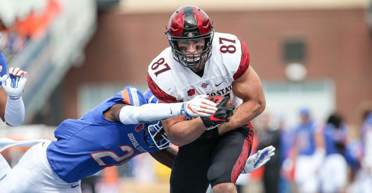 San Diego State tight end Kahale Warring is one of the more intriguing prospects from this year's Texans draft class, says John McClain.