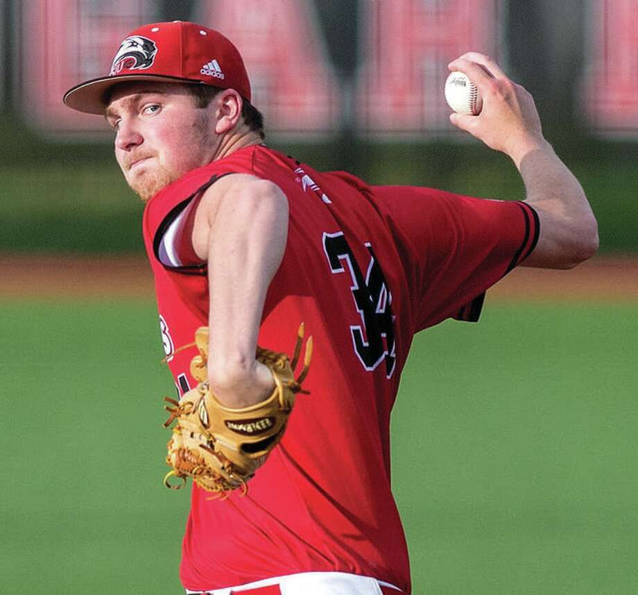 SIUE pitcher Collin Baumgartner worked six innings, allowing one run on five hits Friday against Austin Peay. He struck out seven, but fell to 1-5 with the 6-1 loss loss Friday in Clarksville, Tenn. Photo: SIUE Athletics