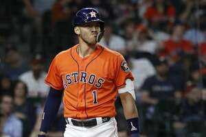 during the ninth inning of an MLB baseball game at Minute Maid Park, in Houston, Friday, April 26, 2019.