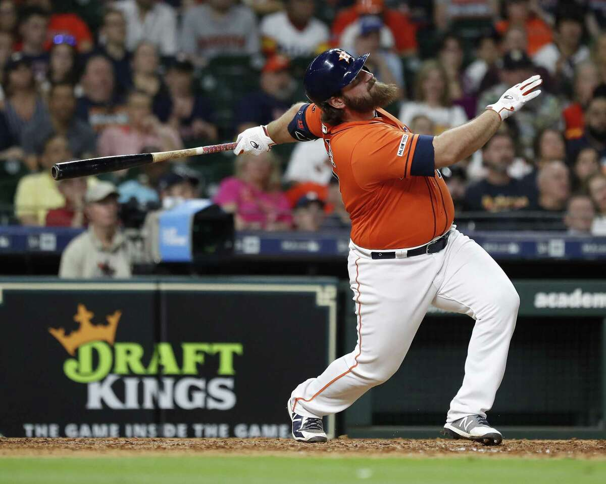 The Astros' Tyler White flies out during the eighth inning of the loss to the Indians.