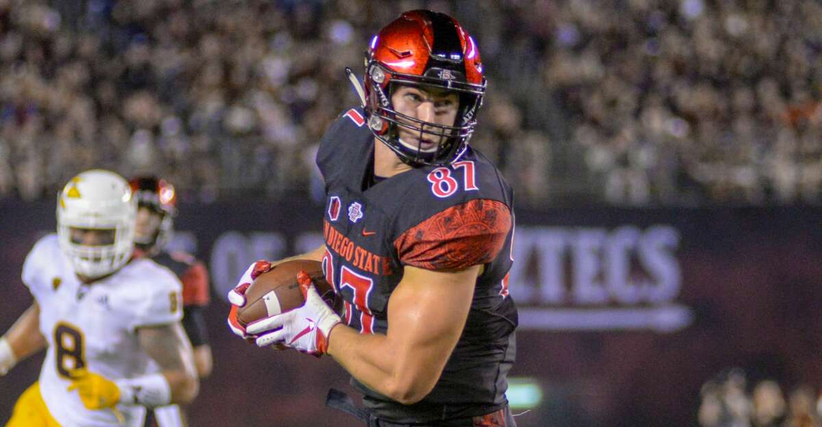 SAN DIEGO, CA - SEPTEMBER 15: Kahale Warring #87 of the San Diego State Aztecs runs with the ball in the first half against the Arizona State Sun Devils at SDCCU Stadium on September 15, 2018 in San Diego, California. (Photo by Kent Horner/Getty Images)
