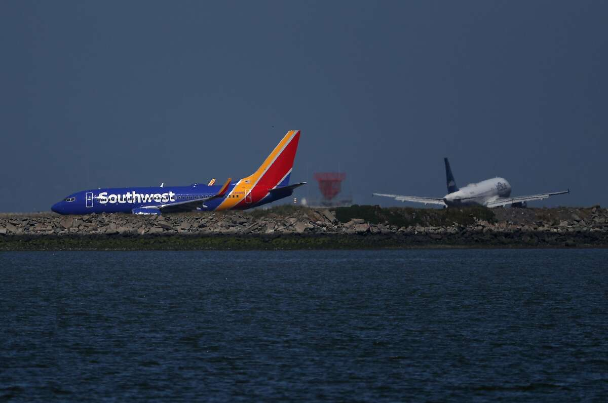 A Southwest Airlines Boeing 737 plane prepares to take off from Oakland International Airport on April 25, 2019.