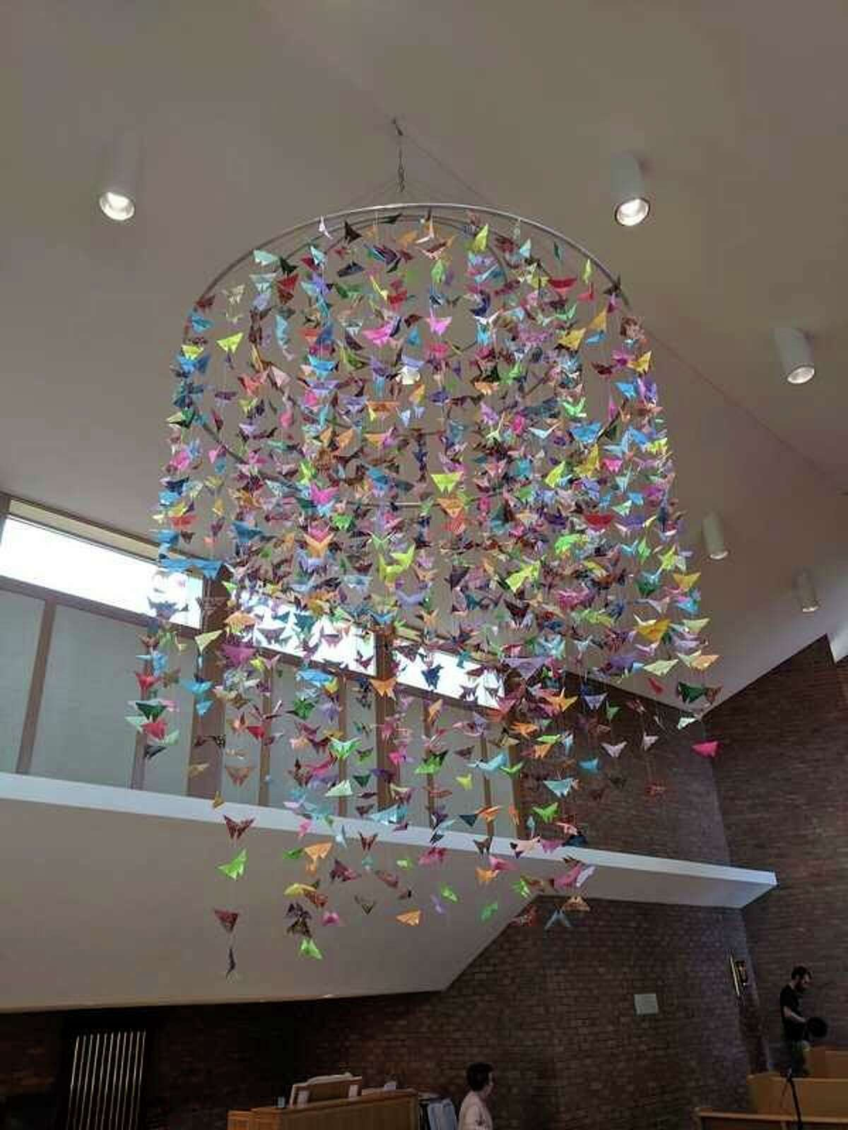 The origami butterfly chandelier at St. John's Episcopal Church in Midland. The butterfly art symbolizes the resurrection and new life. (photo provided)