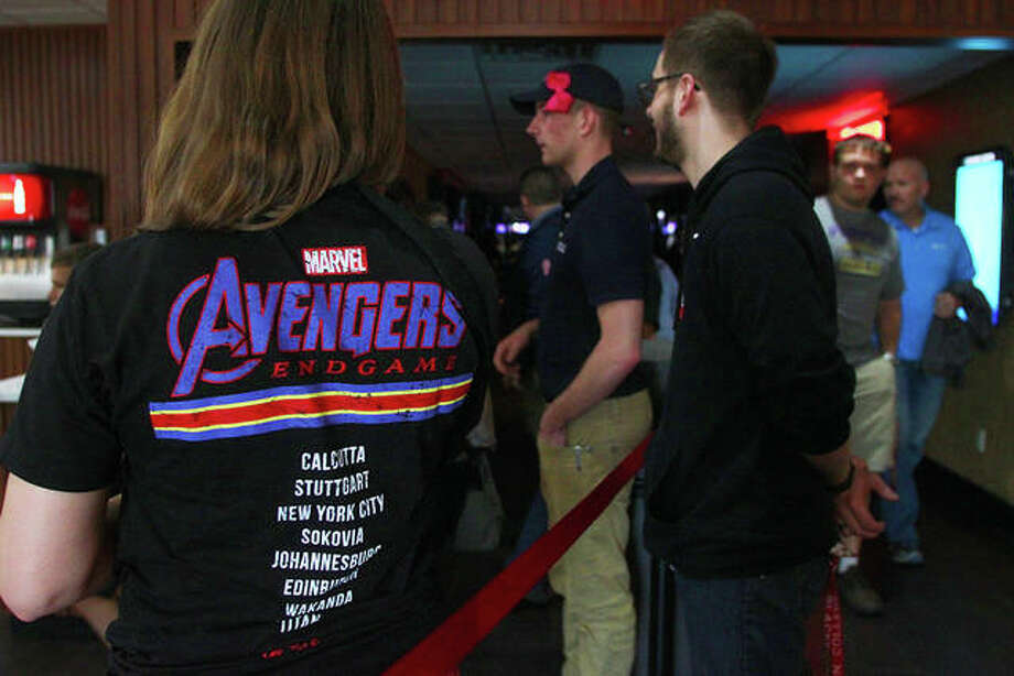 """Katie Mudd of Jacksonville waits to see """"Avengers: Endgame"""" at RMC Stadium Cinemas Friday. The theater had showings sold out until after 10 p.m. that night. Photo: Rosalind Essig   Journal-Courier"""