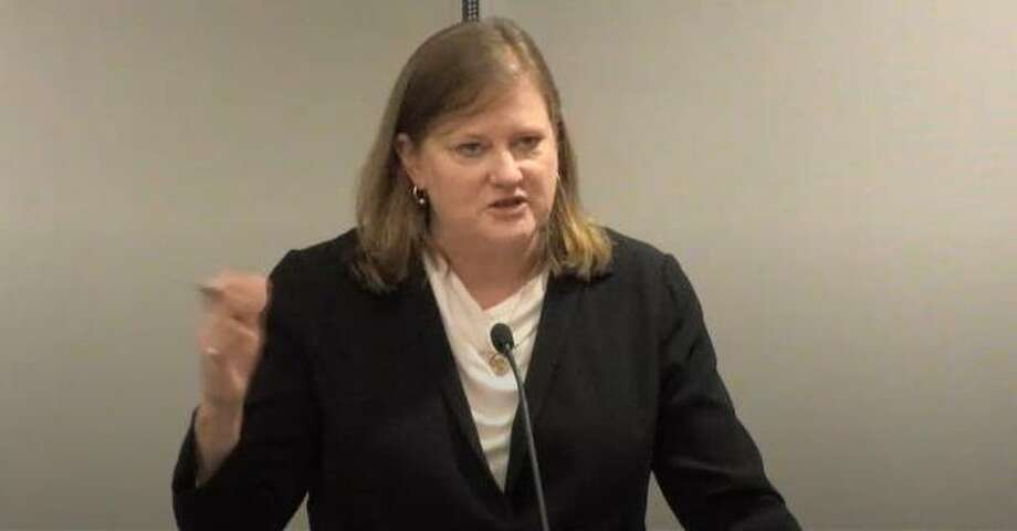 Julia Novak, of the Novak Consulting Group, gave a short update to township leaders during a Wednesday, April 24, 2019, meeting of The Woodlands Township Board of Directors. The township approved extending the contract for incorporation studies with the firm through November, 2020. Now, as the COVID-19 novel coronavirus pandemic wreaks havoc on sales tax and hotel occupancy taxes, financial models done by Novak's firm will need to be revisited. Photo: Image Courtesy The Woodlands Township / Image Courtesy The Woodlands Township
