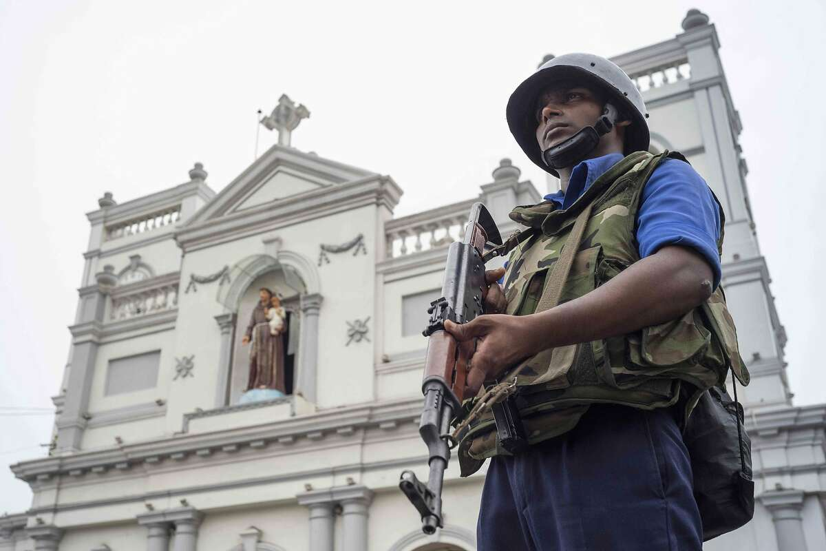 A Sri Lankan soldier stands guard outside St. Anthony's Shrine in Colombo on April 27, 2019, following a series of bomb blasts targeting churches and luxury hotels on Easter Sunday in Sri Lanka. - Fifteen people including six children have died during a Sri Lankan security forces operation in the aftermath of the Easter attacks, as three cornered suicide bombers blew themselves up and others were shot dead, police said on April 27. (Photo by Jewel SAMAD / AFP)JEWEL SAMAD/AFP/Getty Images