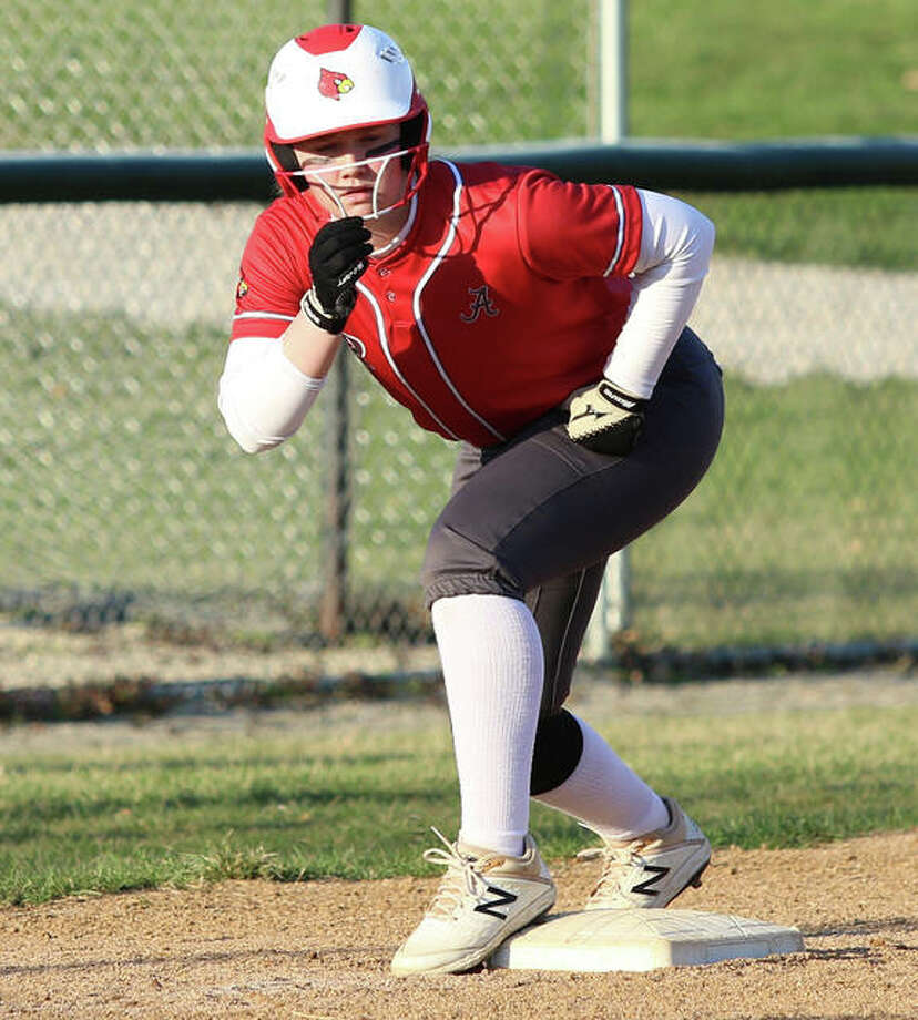 Alton's Ashlyn Betz drove in five runs off a double, triple and homer to finish a single shy of the cycle in the Redbirds win Friday at Metro-East Lutheran in Edwardsville. Photo: Greg Shashack / The Telegraph