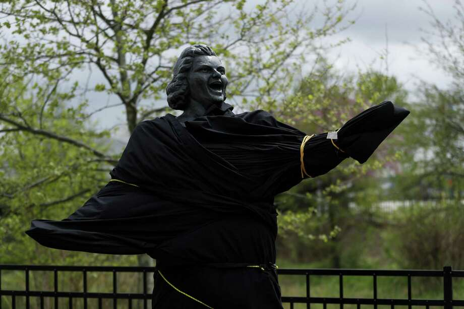 A partially covered statue of singer Kate Smith is seen near the Wells Fargo Center on April 19 in Philadelphia. Photo: Matt Slocum / Associated Press / Copyright 2019 The Associated Press. All rights reserved