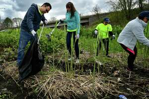 Emploees of the IMED Center including Diego Murcia, Sara Skrabel, Maria Pedroza and Johanna Murcia pick up litter on the Norwalk River Valley Trail along Broad Street as they participate in the Mayor's Clean City Initiative Spring Cleanup on April 27.