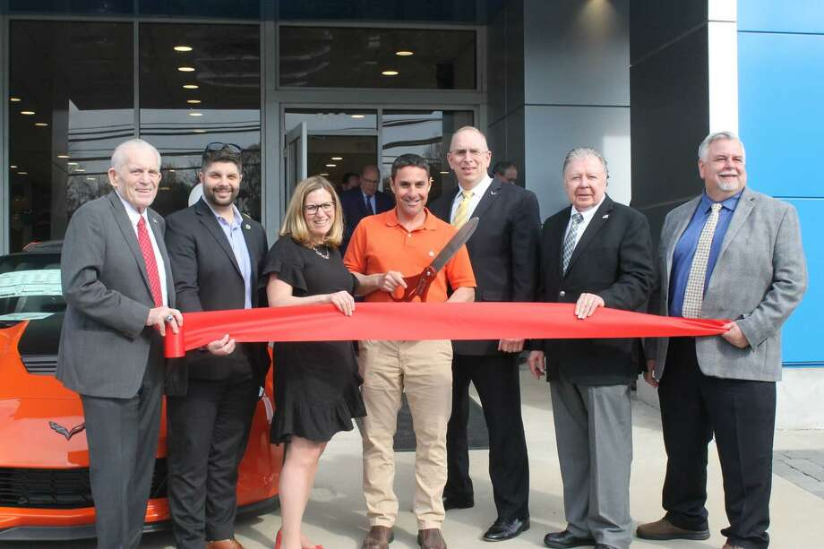 Key Chevrolet held a grand opening at 660 So. Main St., Middletown, April 23. From left are Chamber President Larry McHugh, Mayor Dan Drew, owners Jill Merriam Dulitsky and Jeff Merriam, Northeast Director for Chevrolet Dan Adamcheck, Chamber Chairman Jay Polke and Vice Chairman Don DeVivo. Photo: Contributed Photo