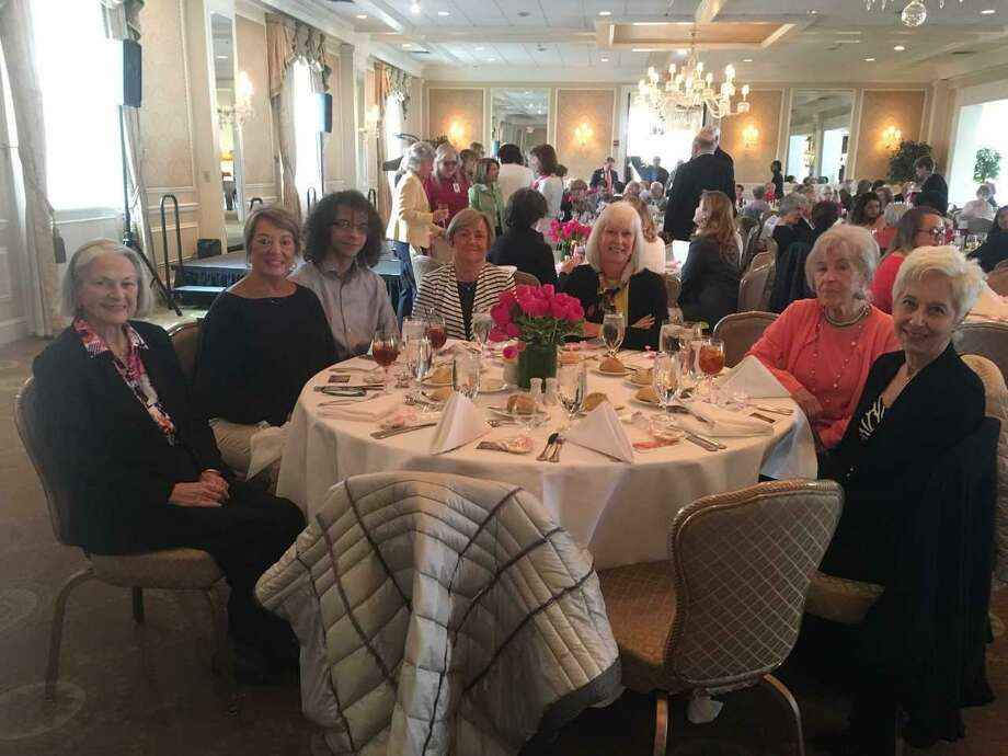 Greenwich Hospital honors its volunteers at a recent luncheon at the Greenwich Country Club as part of National Volunteer Appreciation Week. From left are: Patricia Marshall of Rye, N.Y.; Mary Anne Cipolla of Greenwich; Brandon McClean of Riverside; Judy Ruttkamp of Greenwich; Debbie Krautheim of Greenwich; Elizabeth Vecchiolla of Rye, N.Y.; and Lavern Mezo of Greenwich. Photo: Contributed /
