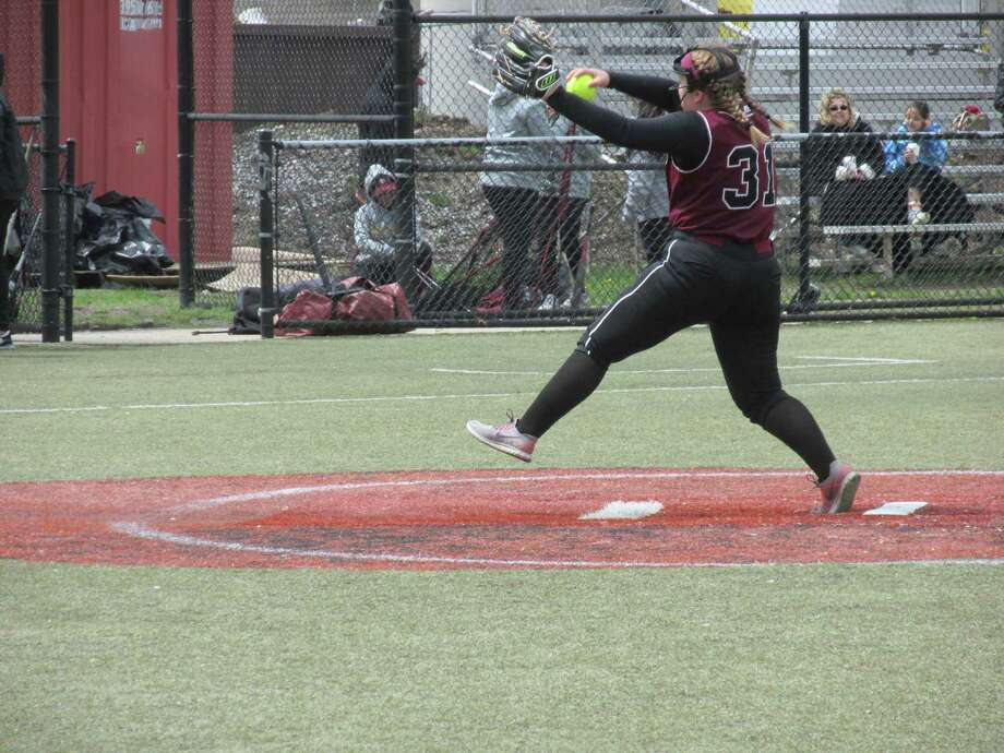 Torrington pitcher Julia Fritz held Sacred Heart to three hits at Waterbury's Municipal Stadium Saturday afternoon. Photo: Peter Wallace / For Hearst Connecticut Media