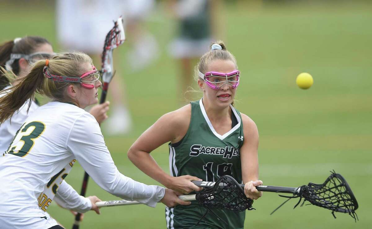 Sacred Heart Greenwich defeated Greenwich Academy 13-8 in a girls lacrosse match played at Sacred Heart Greenwich on April 27, 2019 in Greenwich.