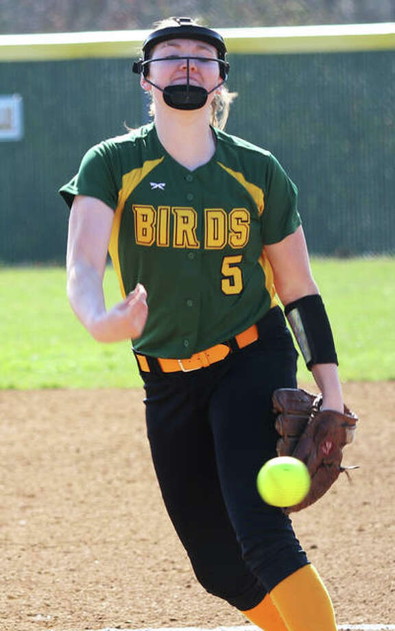 Southwestern's Bailee Nixon, shown in a game earlier this season at Alton High, struck out nine and walked none in a 5-2 complete-game win over Calhoun on Saturday in Piasa. Photo: Greg Shashack / The Telegraph