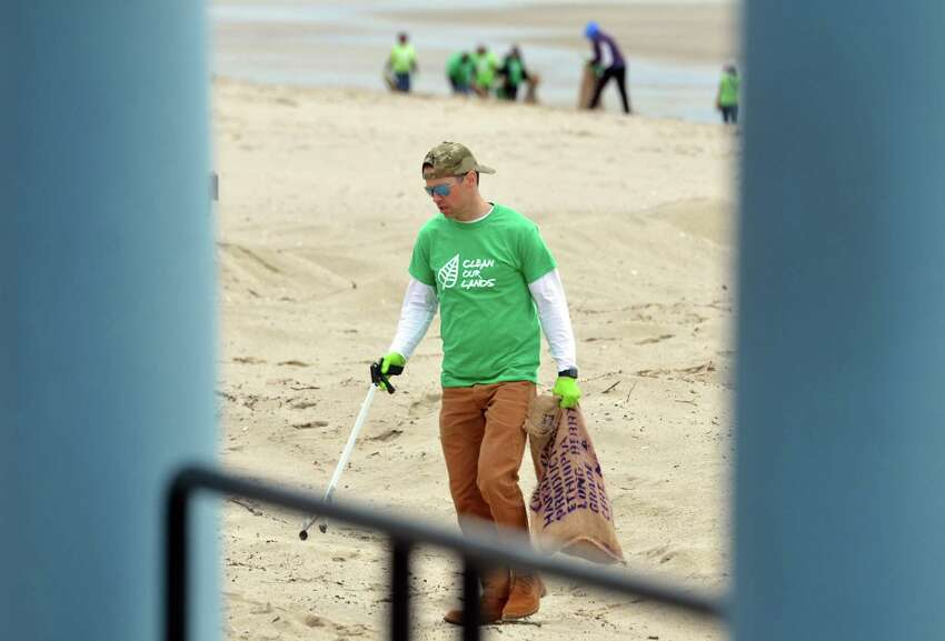 The non-profit organization Clean Our Lands held a clean-up event at Seaside Park in Bridgeport, Conn., on Saturday Apr. 27, 2019. Over 100 people signed up to help clean the beaches and park grounds.