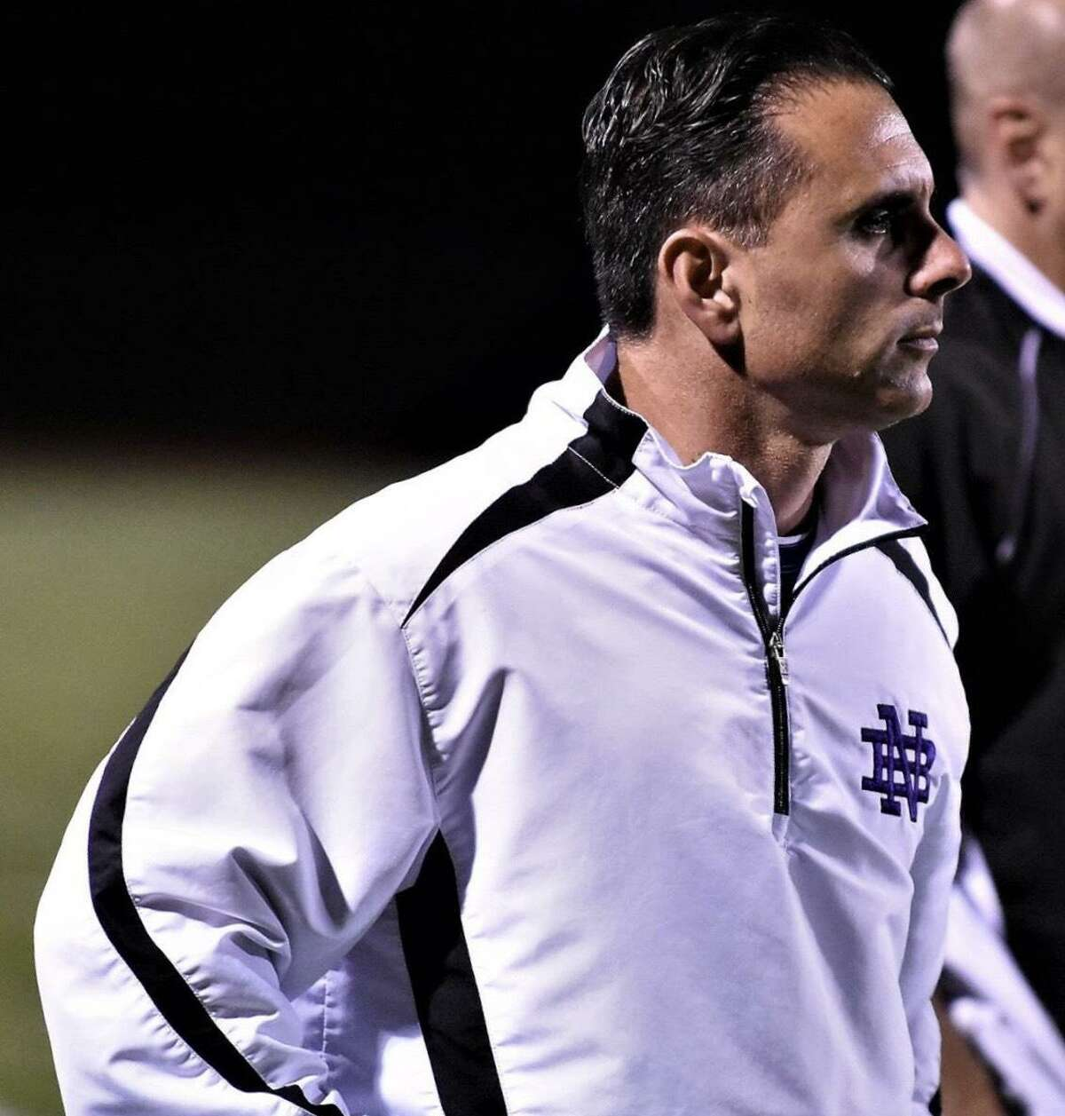 Guilford football coach Anthony Salvati on the sideline when he was an assistant coach at North Branford.