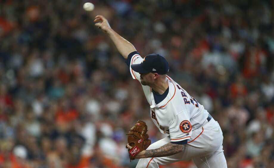 PHOTOS: Houston Astros (2019) baby photos Houston Astros relief pitcher Ryan Pressly (55) throws the ball against the Cleveland Indians during the seventh inning of an MLB game at Minute Maid Park Saturday, April 27, 2019, in Houston. >>>Guess who these Houston Astros players are based off photos from their childhood ... Photo: Godofredo A Vásquez/Staff Photographer