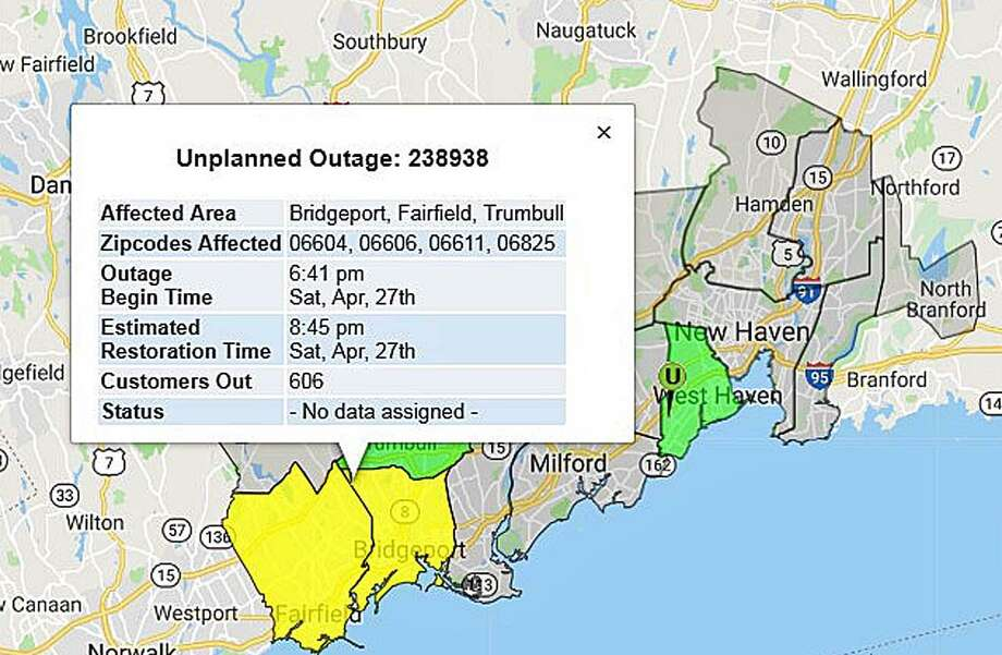 Only 2 remain without power in Bridgeport - The Hour Illuminating Company Power Outage Map on michigan public access map, michigan power outages map, northwestern energy power territory map,