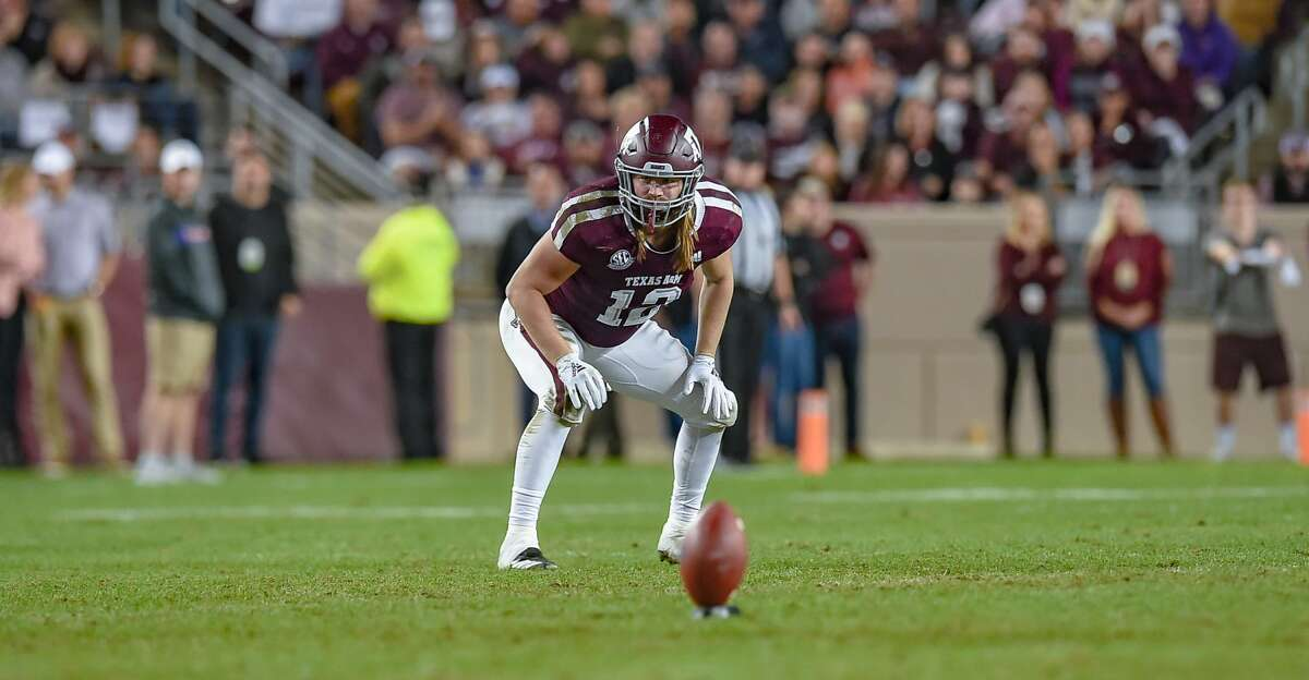 COLLEGE STATION, TX - NOVEMBER 24: Texas A&M Aggies fullback Cullen Gillaspia (12) gets set for a kickoff during the game between the LSU Tigers and the Texas A&M Aggies on November 24, 2018 at Kyle Field in College Station, TX. (Photo by Daniel Dunn/Icon Sportswire via Getty Images)