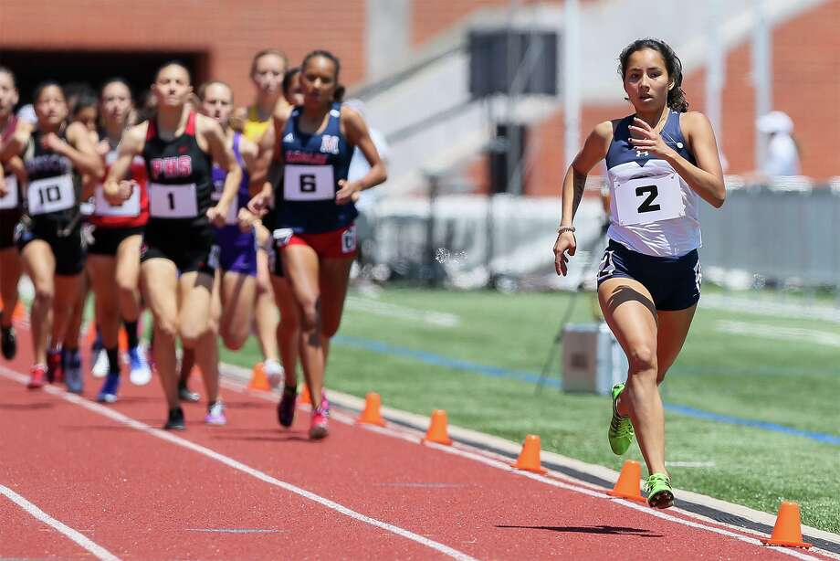 Boerne Champion's Anastacia Gonzales runs far ahead of the field midway through the 5A girls 800-meter run during the second day of the Region IV-6A/5A track and field meet at Heroes Stadium on Saturday, April 27, 2019. Gonzales won the event with a time of 2:15.42. Photo: Marvin Pfeiffer, Staff Photographer / Express-News 2019