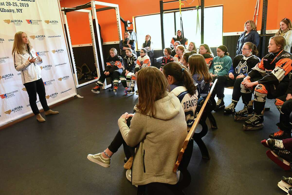 Haley Skarupa, a member of the 2018 U.S. gold medal-winning womenOs hockey team, answers questions as she hosts a clinic with Clifton Park-based CP Dynamo on Thursday, April 25, 2019 in Clifton Park, N.Y. (Lori Van Buren/Times Union)