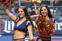 Members of the Albany Empresses dance team perform as the Albany Empire's play against the Columbus Destroyers during their home opener arena football game Saturday, April 26, 2019, in Albany, N.Y. (Hans Pennink / Special to the Times Union)