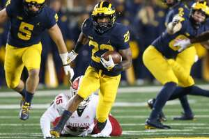 ANN ARBOR, MI - NOVEMBER 17:  Michigan Wolverines running back Karan Higdon (22) runs with the ball during a game between the Indiana Hoosiers and the Michigan Wolverines (4) on November 17, 2018 at Michigan Stadium in Ann Arbor, Michigan. (Photo by Scott W. Grau/Icon Sportswire via Getty Images