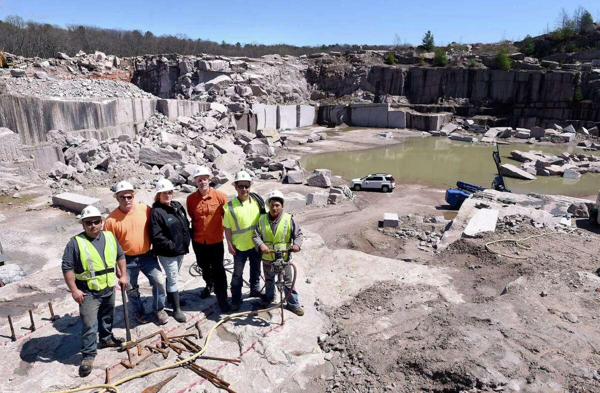 From left, Guido Lopez, quarry supervisor Rick Atkinson, Stacy Bandecchi, Darrell Petit, Rodrigo Vega and Manuel Pugo are photographed at the Stony Creek Quarry in Branford on April 23.