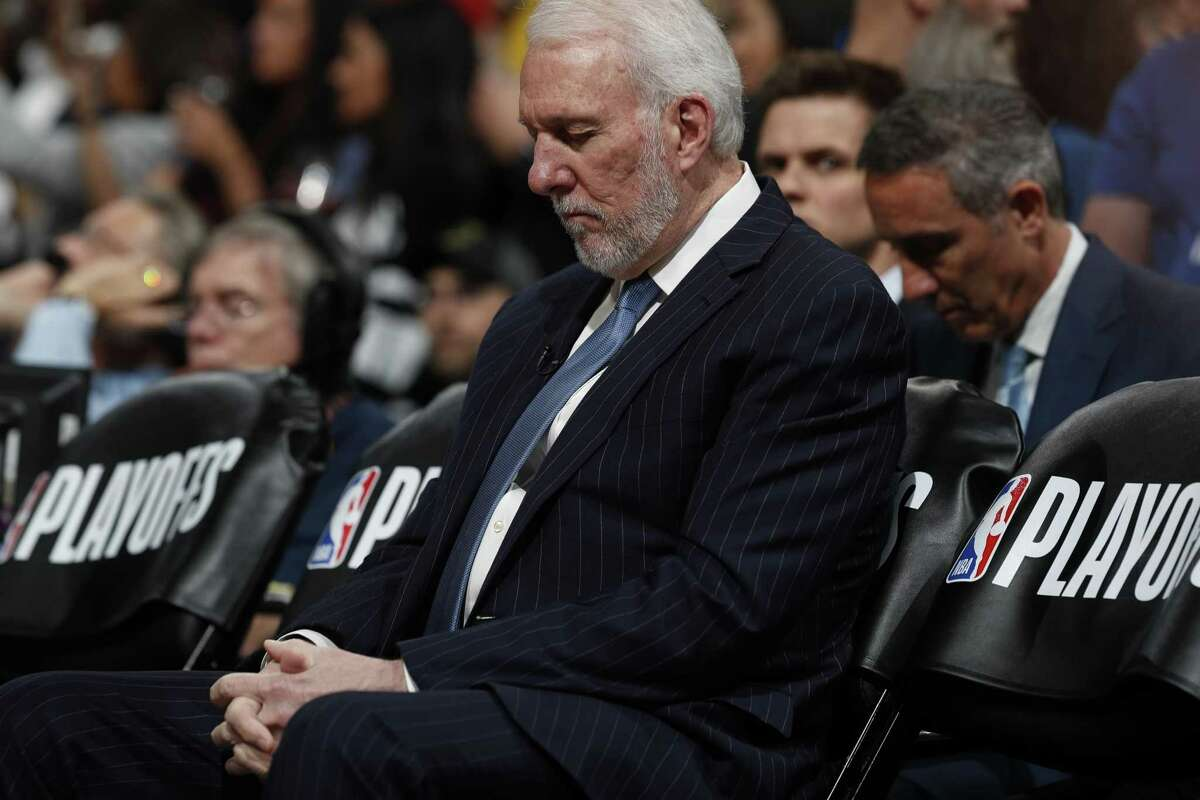 San Antonio Spurs head coach Gregg Popovich in the first half of Game 5 of an NBA basketball first-round playoff series Tuesday, April 23, 2019, in Denver. (AP Photo/David Zalubowski)