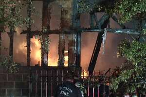An Houston firefighter was injured while battling a 3-alarm fire that damaged five apartment units in Houston's Montrose neighborhood.