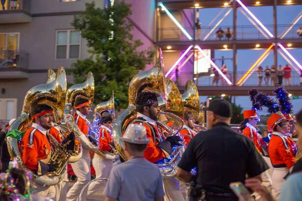 The annual Fiesta Flambeau Parade drew thousands to downtown on Saturday, April 27, 2019, for the nation's largest illuminated night parade.